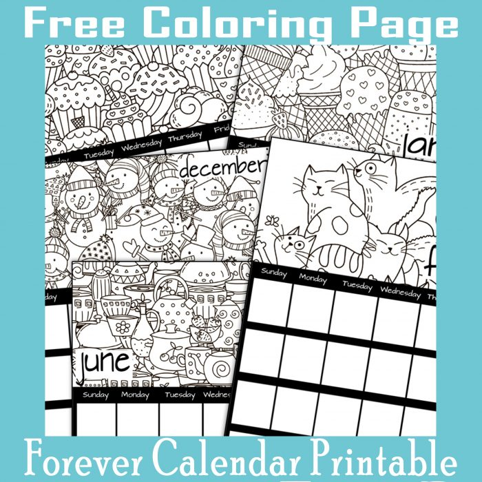 Forever Calendar Coloring Pages DIY Printables