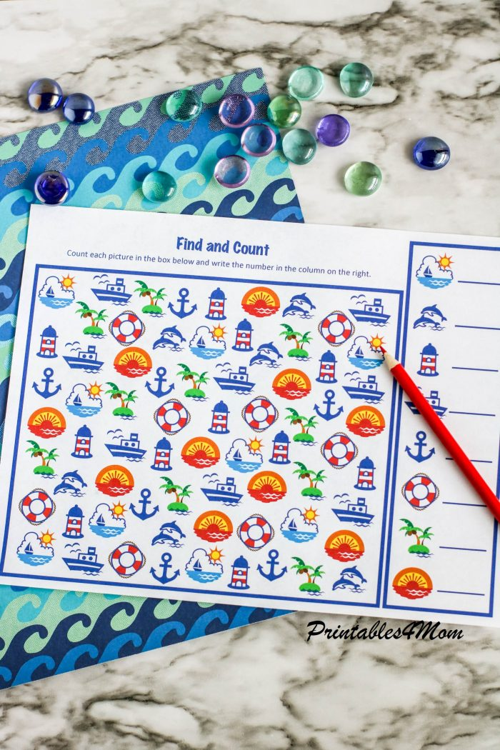 Free Printable Find and Count Nautical Activity