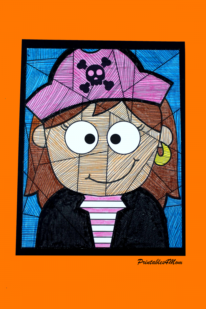 Free Pirate Girl Line Study Printable Activity
