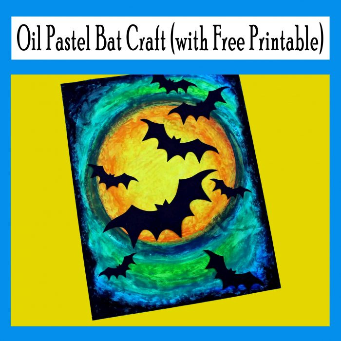 Printable Oil Pastel Bat Craft