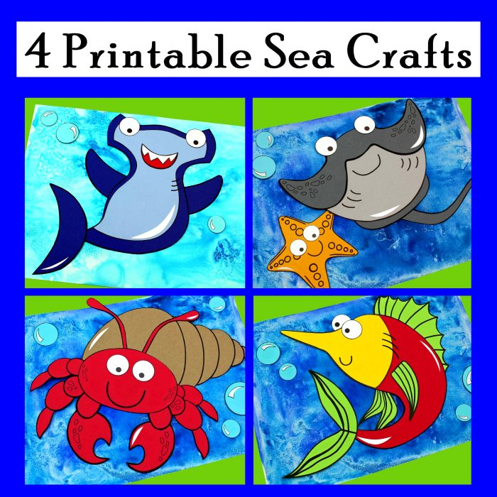 Four Printable Sea Crafts. Hermit Crab, Hammerhead Shark, Hermit Crab, and Swordfish!