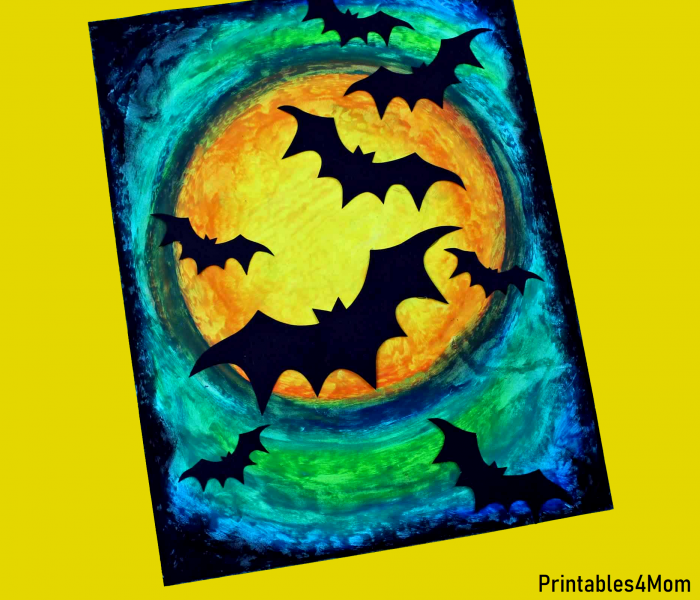 Free Printable Oil Pastel Bat Craft