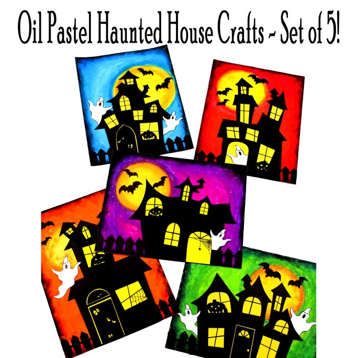 Oil Pastel Haunted House Crafts - Set of 5!