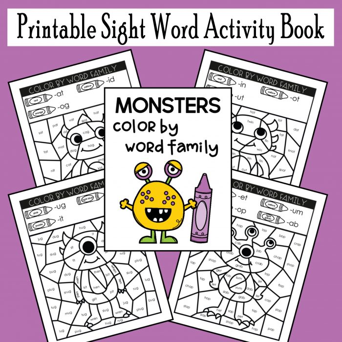 Monster Sight Word Coloring Book