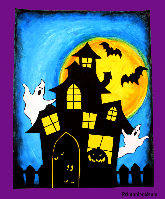 Blue Haunted House Free Halloween Printable