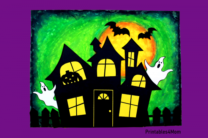 Green Haunted House Free Halloween Printable