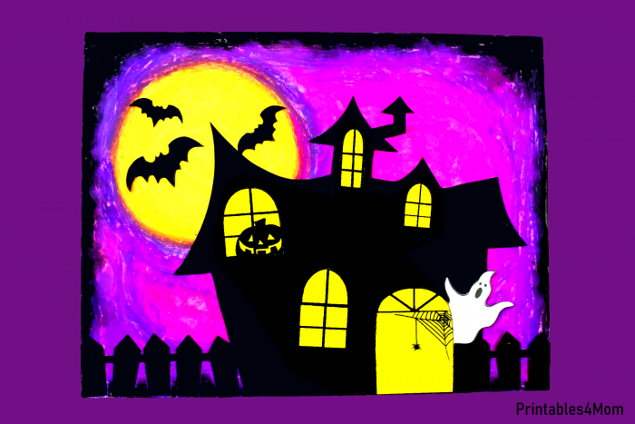 Purple Haunted House Free Halloween Printable