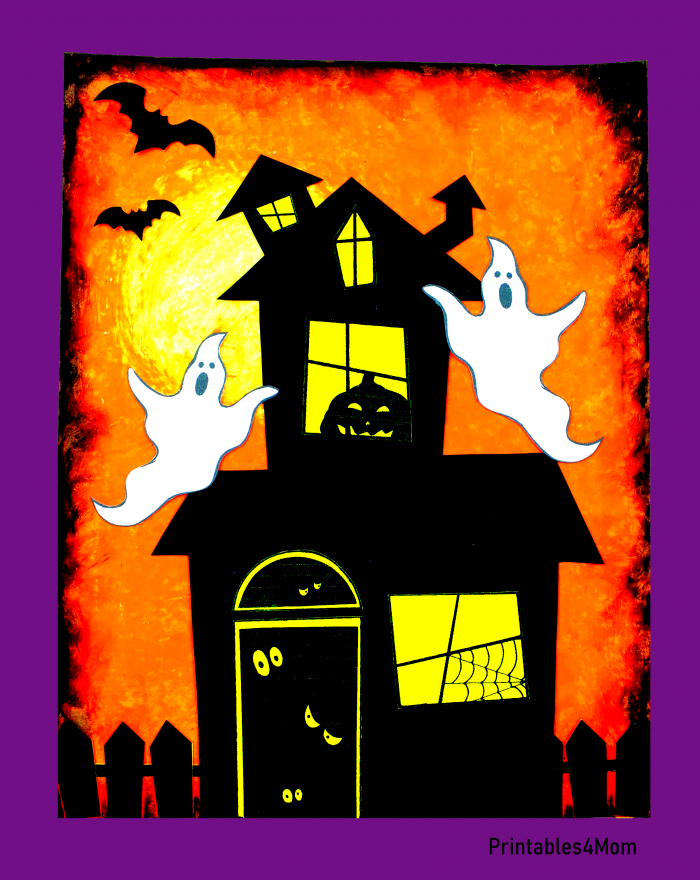 Orange Haunted House Free Halloween Printable