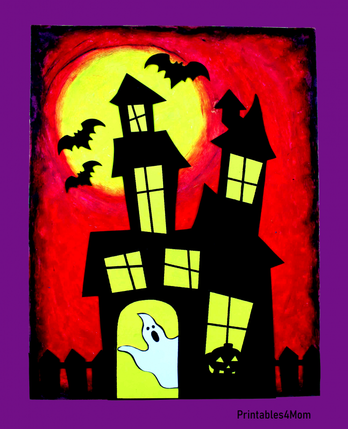 Red Haunted House Free Halloween Printable