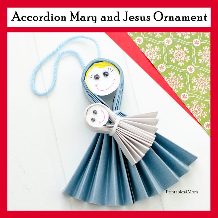 Accordion Mary and Jesus Ornament craft