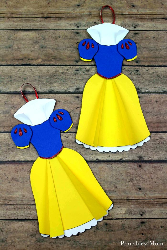 Snow White Dress Ornament Free Printable Craft for Christmas