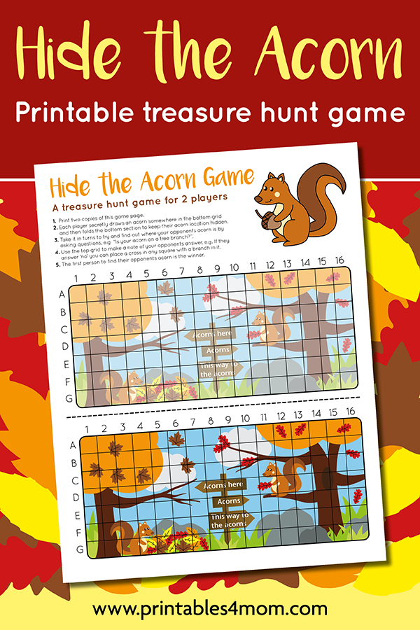 Hide the Acorn Game Printable Thanksgiving game