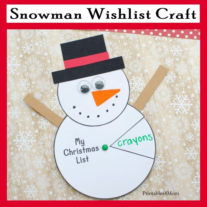 Snowman Spinner Gift List Craft