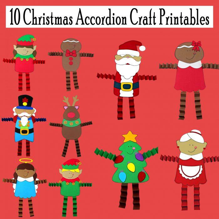 10 Christmas Accordion Craft Printables for Kids