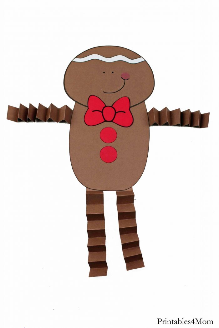 Gingerbread Boy Christmas Accordion Craft Free Kids Craft