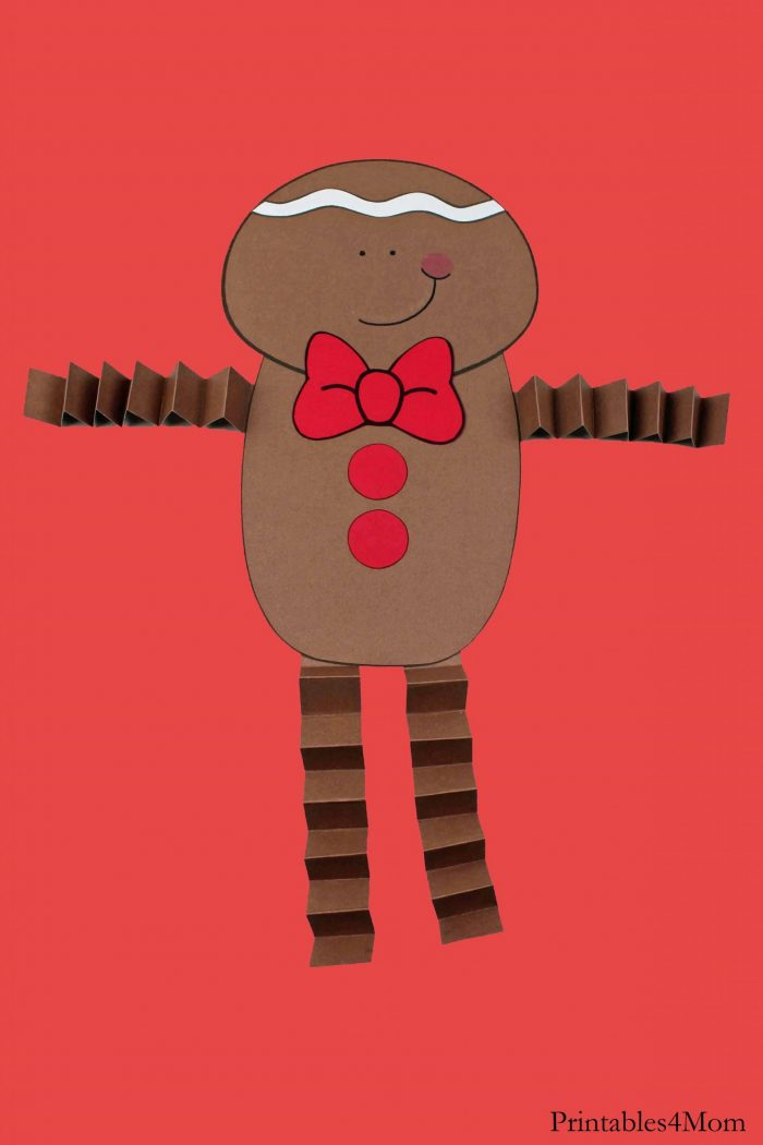 Gingerbread Boy Christmas Accordion Craft Printable DIY Activity