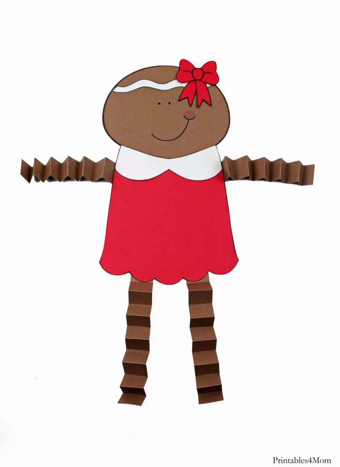 Gingerbread Girl Christmas Accordion Craft Kids DIY