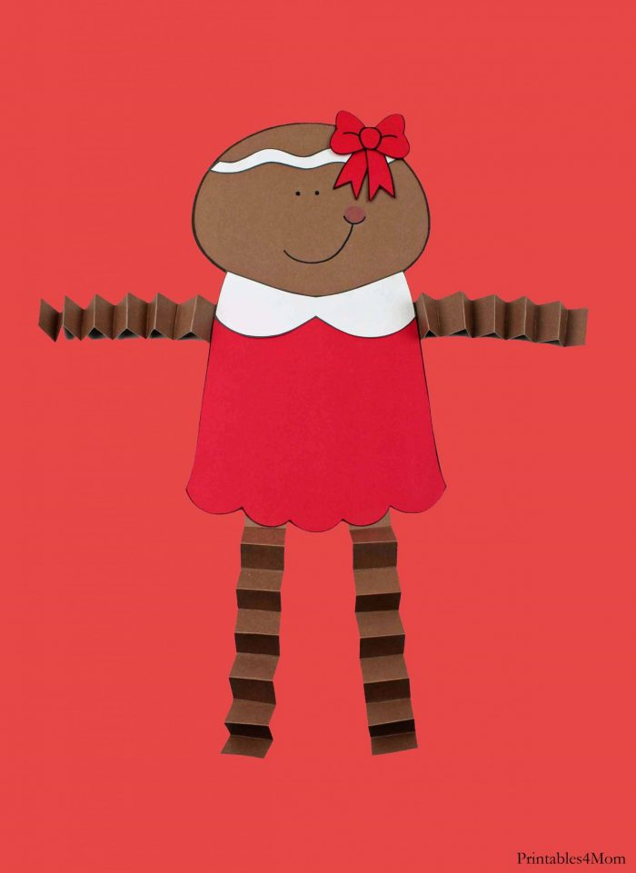 Gingerbread Girl Christmas Accordion Craft Free Printable