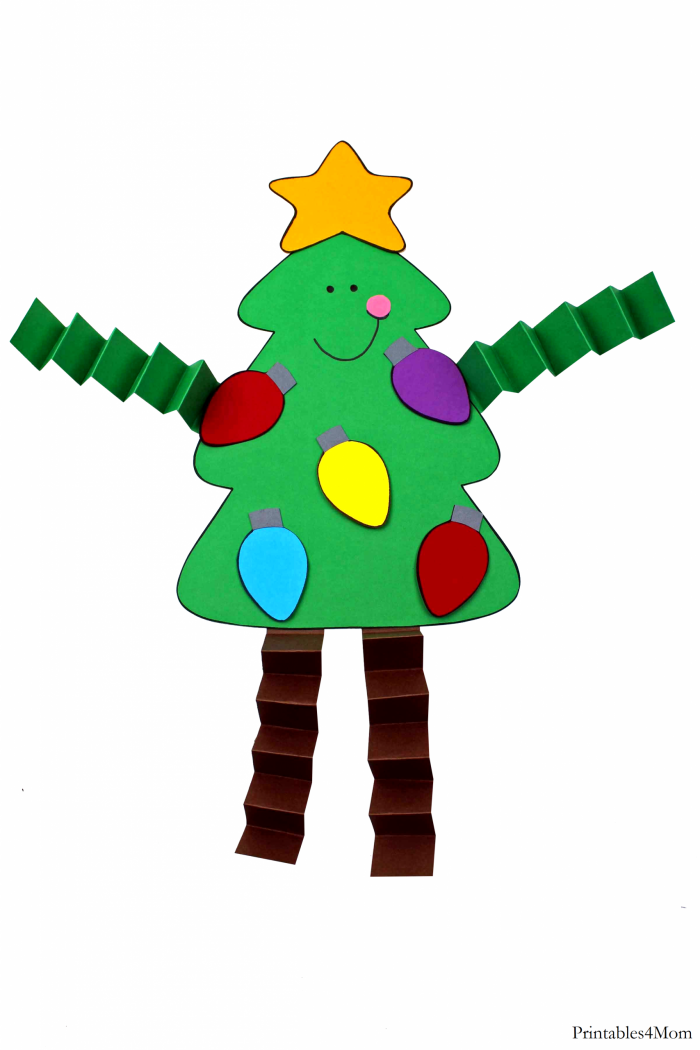 Christmas Tree Accordion Craft Free Printable