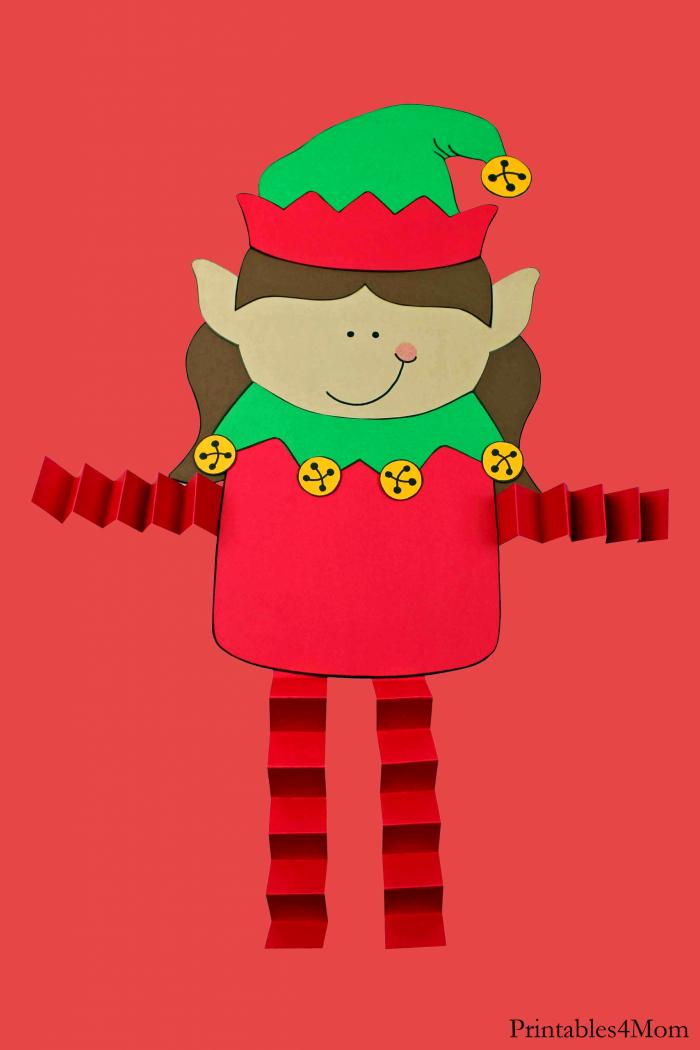 Elf Girl Christmas Accordion Craft Easy Kids Craft
