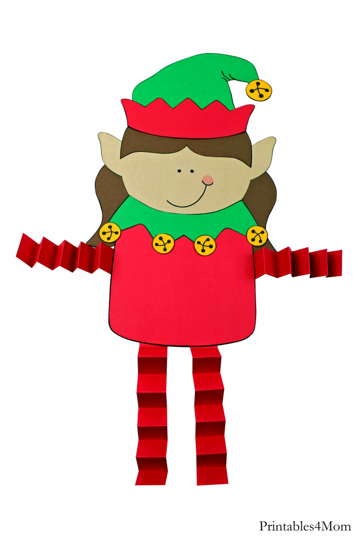 Elf Girl Christmas Accordion Craft Free Printable