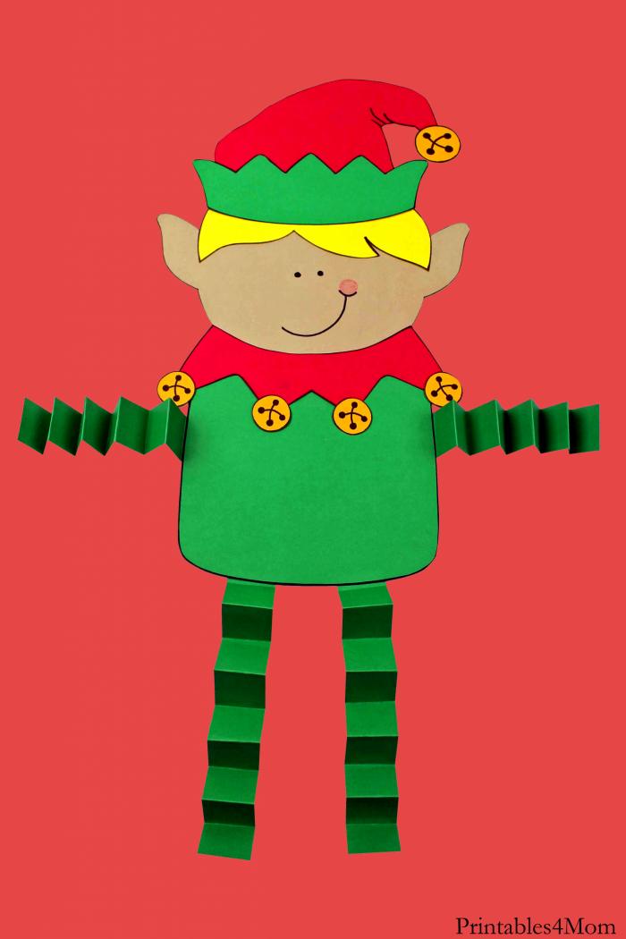 Elf Boy Christmas Accordion Craft Free Printable Template