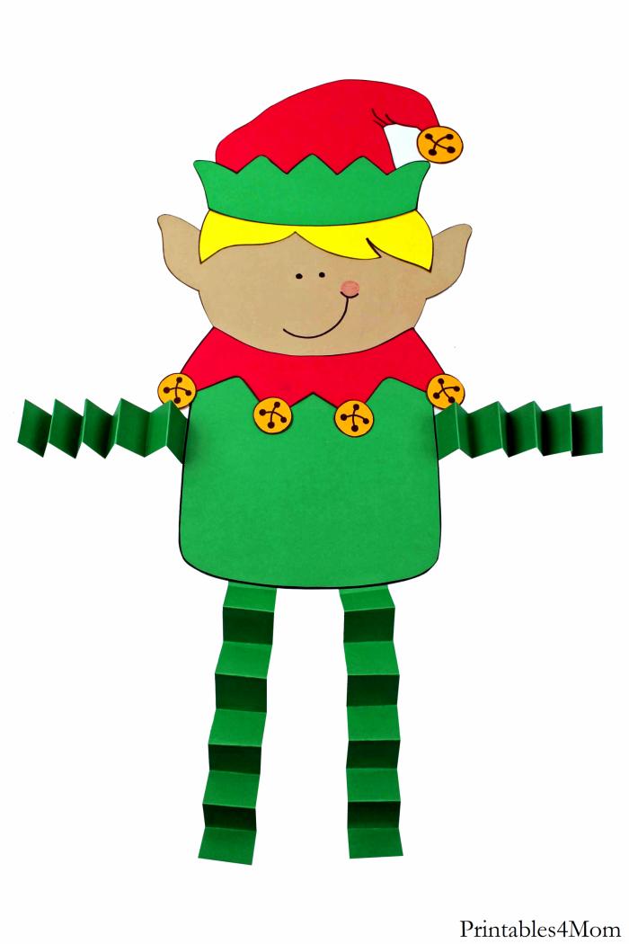 Elf Boy Christmas Accordion Craft Easy DIY Kids Craft