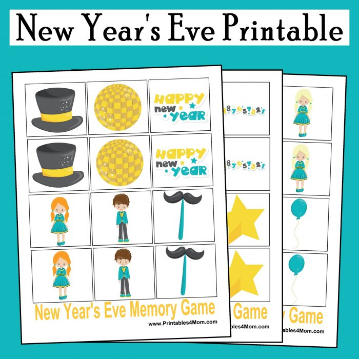 New Year's Eve Printable Memory Game Free Activity for kids and adults