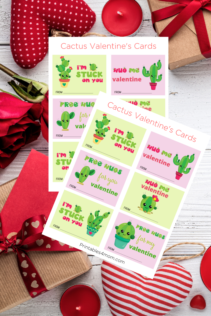 Cute Cactus Printable Valentines