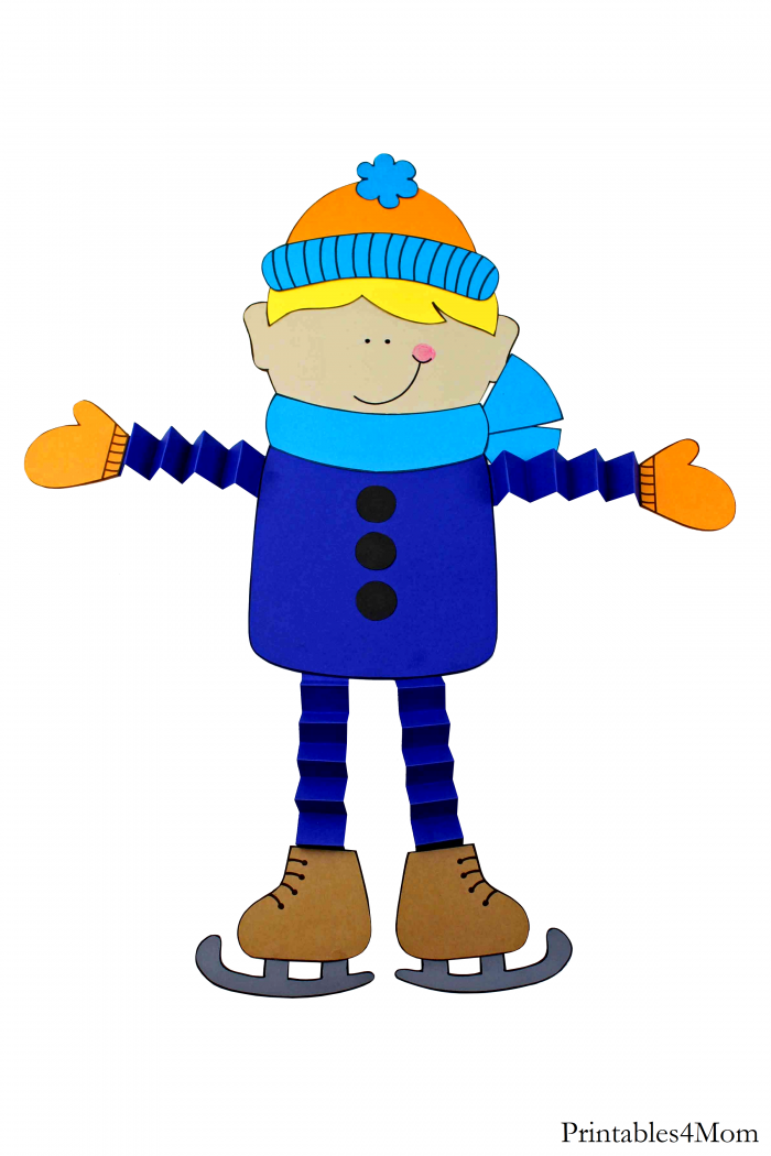 Ice Skater Accordion Craft Free DIY Boy Printable