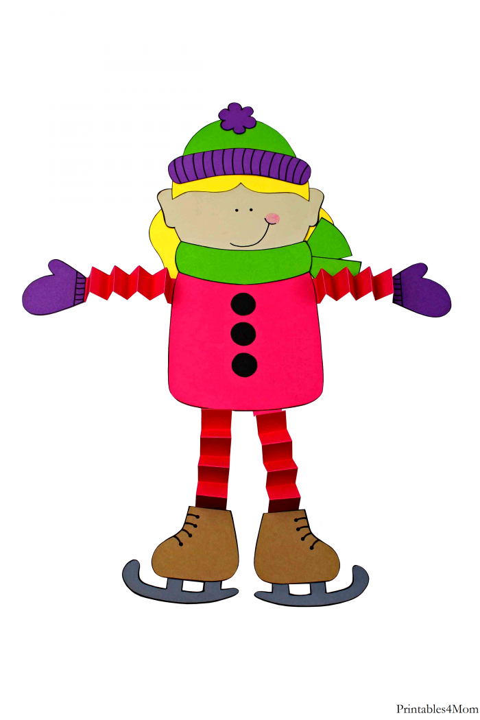 Ice Skater Accordion Craft Free DIY Girl Printable