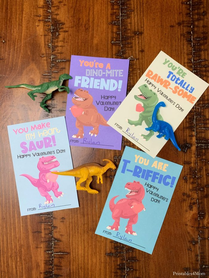 Dinosaur Valentine's Day Cards DIY Free Printable Valentines for kids