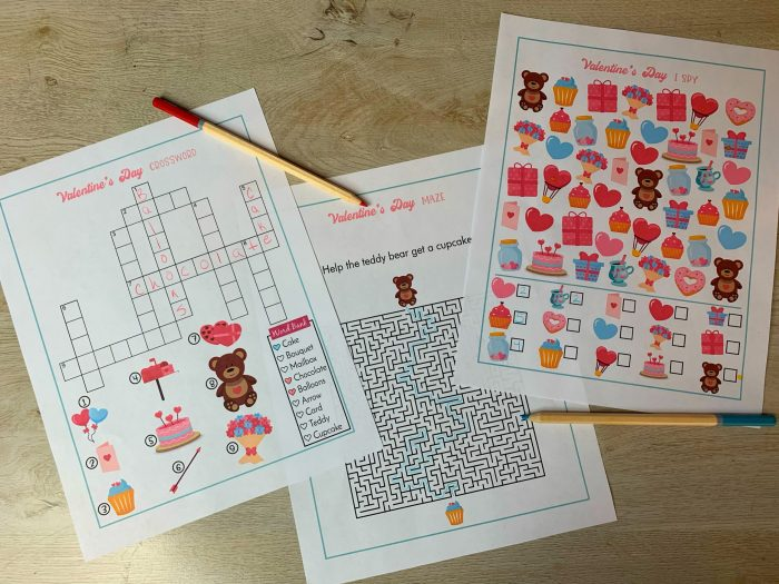 Valentine's Day Printable Activity Games, Free Crossword Puzzle, Maze, I Spy