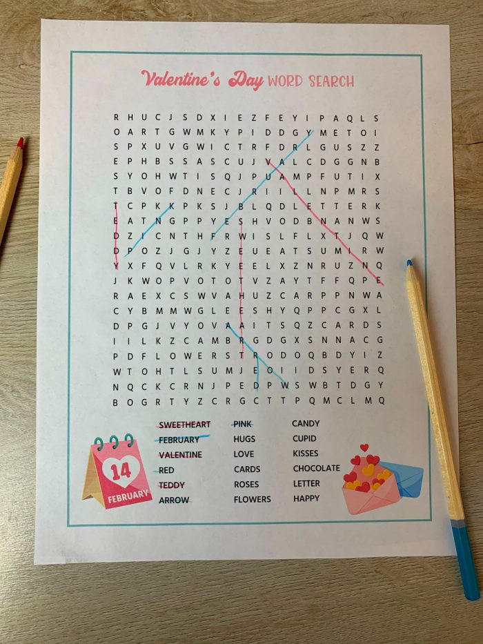 Valentine's Day Printable Activity Games Free Word Search Printable