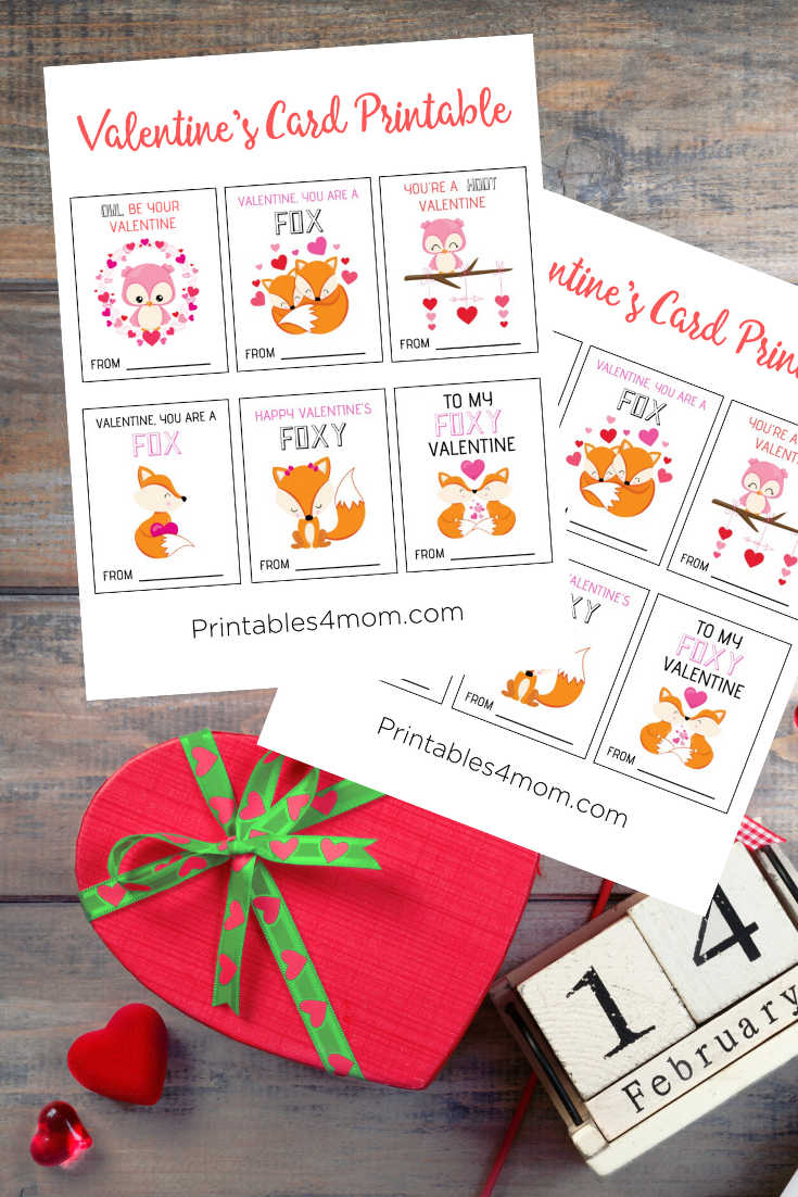 Owl and Fox Valentine's Day Cards Free Printables