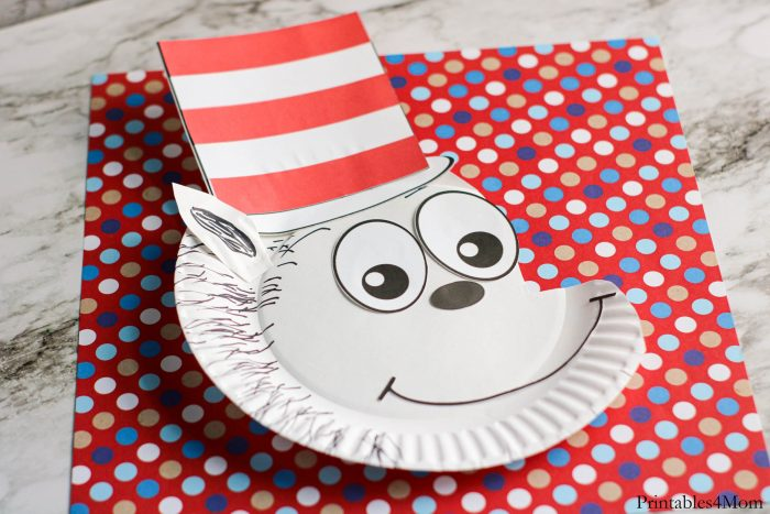 Cat in the Hat Paper Plate Craft printable