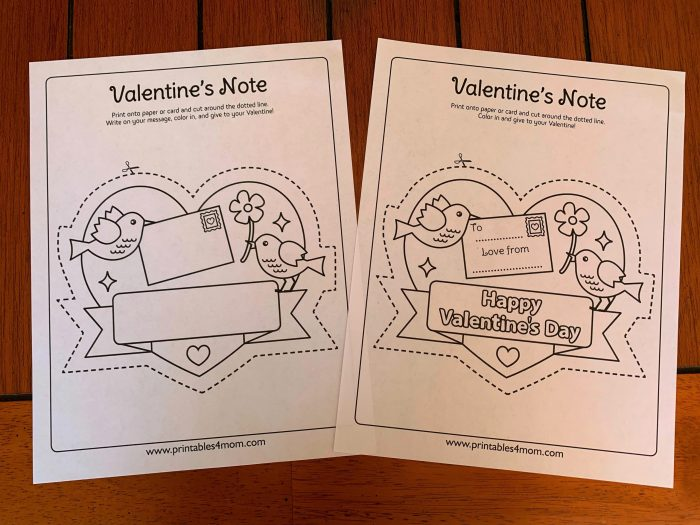 Love Birds Printable Note Free Printable DIY Coloring Page Valentine's Day, Mother's Day, Father's Day, Birthdays, Gift
