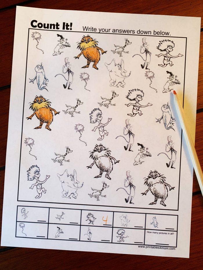Dr. Seuss I Spy Printable Activity Free Worksheet