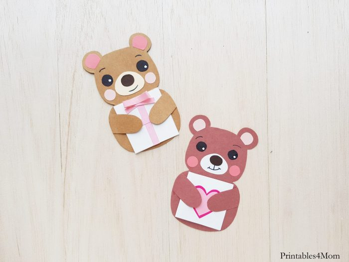 Valentine's Day Bear Card Craft Free Printable for Mother's Day, Father's Day, Teacher Appreciation Gift