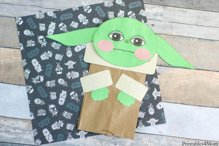 Baby Yoda Paper Bag Puppet Free Printable Template Star Wars Craft