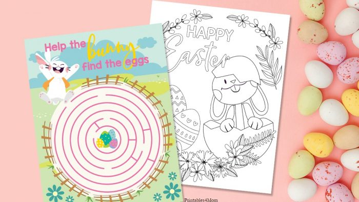 Easter Maze and Coloring Page