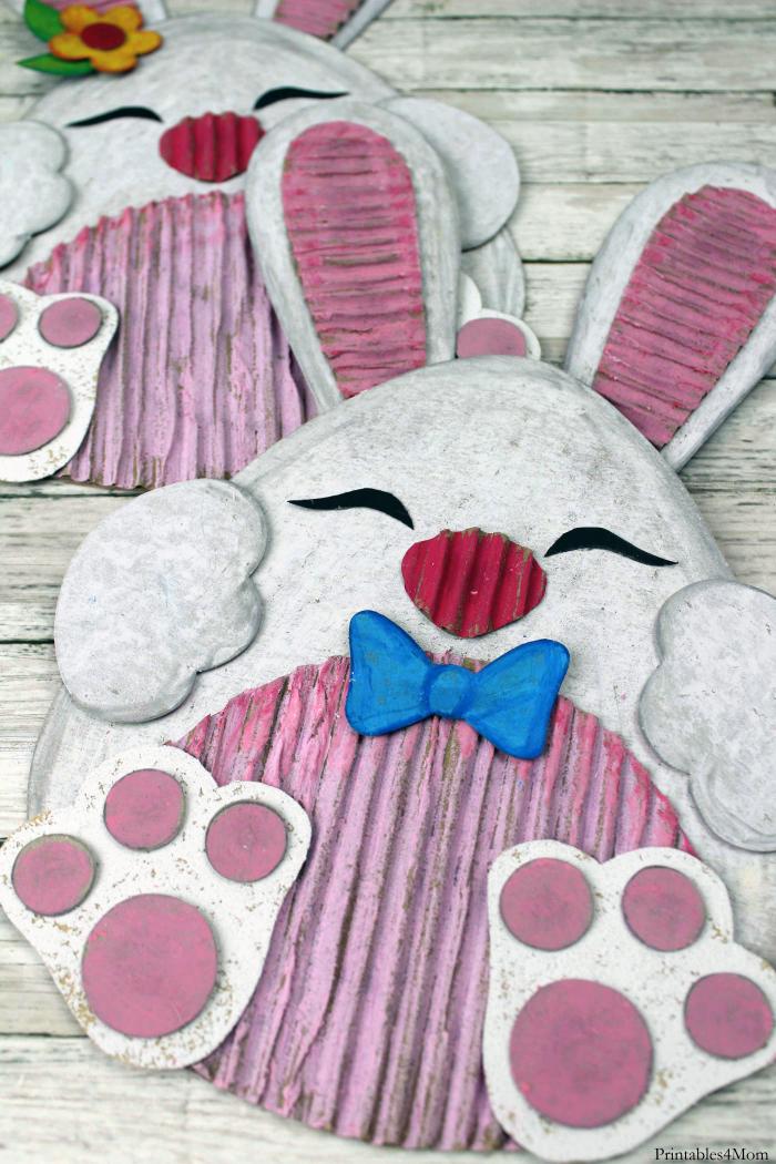 Easter Bunny Cardboard Craft Printable Template