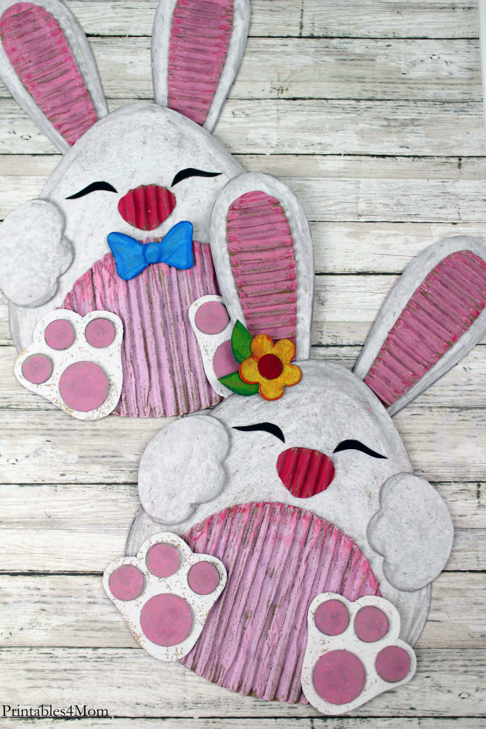 Easter Bunny Cardboard Craft Free Printable Template for Spring