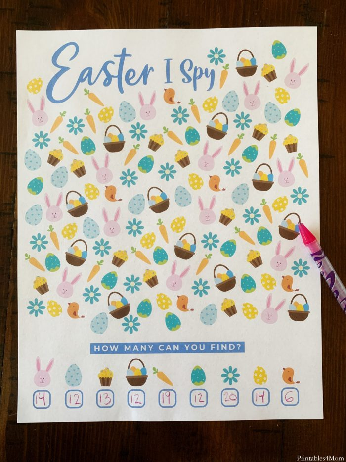 Easter ISpy and Coloring Page ISpy Seak and Find