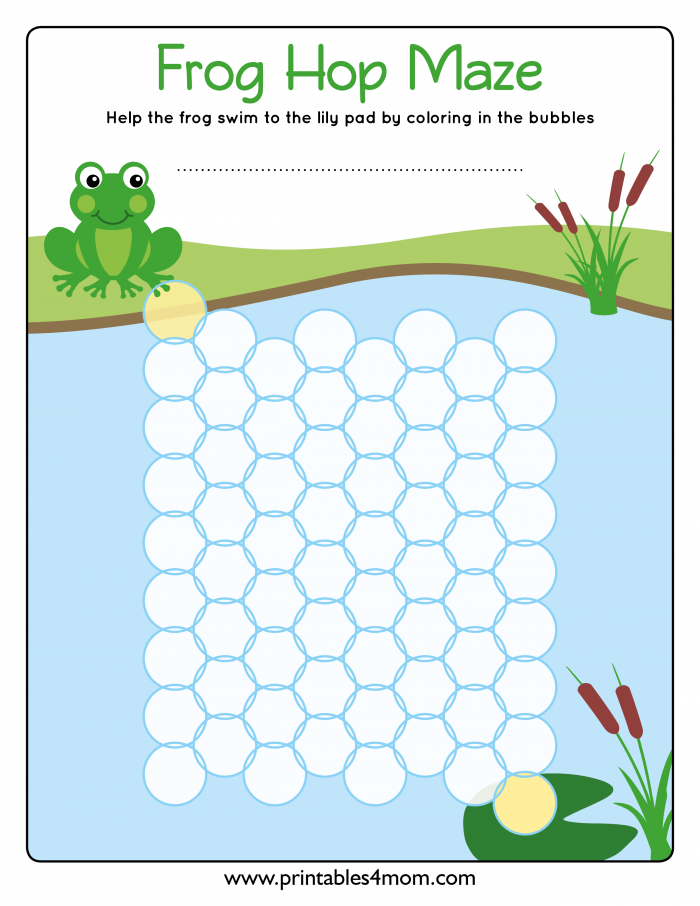Frog Hop Maze Early Math Games BLANK maze for education