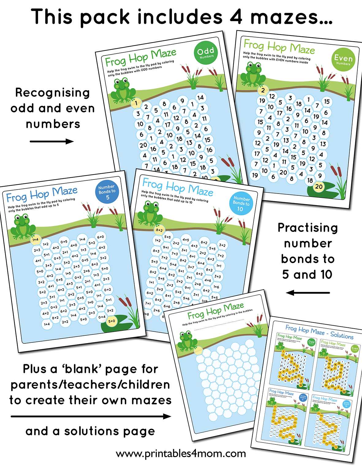 Frog Hop Maze Early Math Games Education for Kindergarten