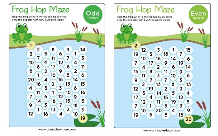 Frog Hop Maze Early Math Games Even and Odd numbers