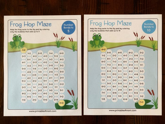Frog Hop Maze Early Math Games Addition to 5 addition to 10