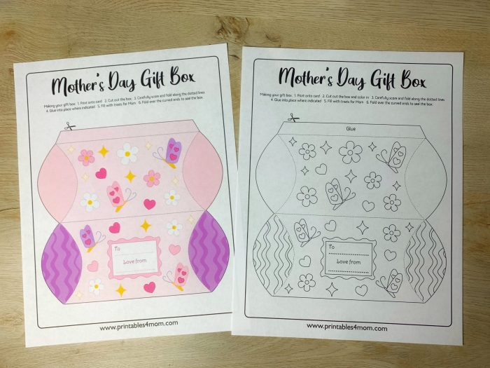 Mother's Day Pillow Box Printable Coloring Page DIY Gift Box