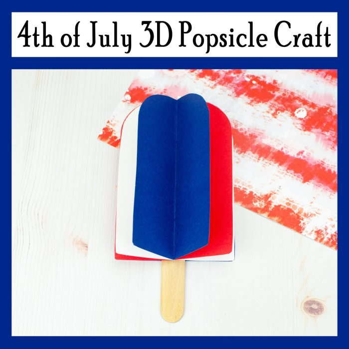 4th of July 3D Popsicle Craft Free Printable Template